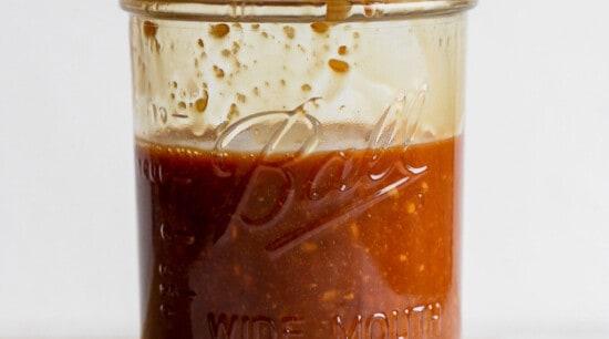 stir fry sauce in a mason jar