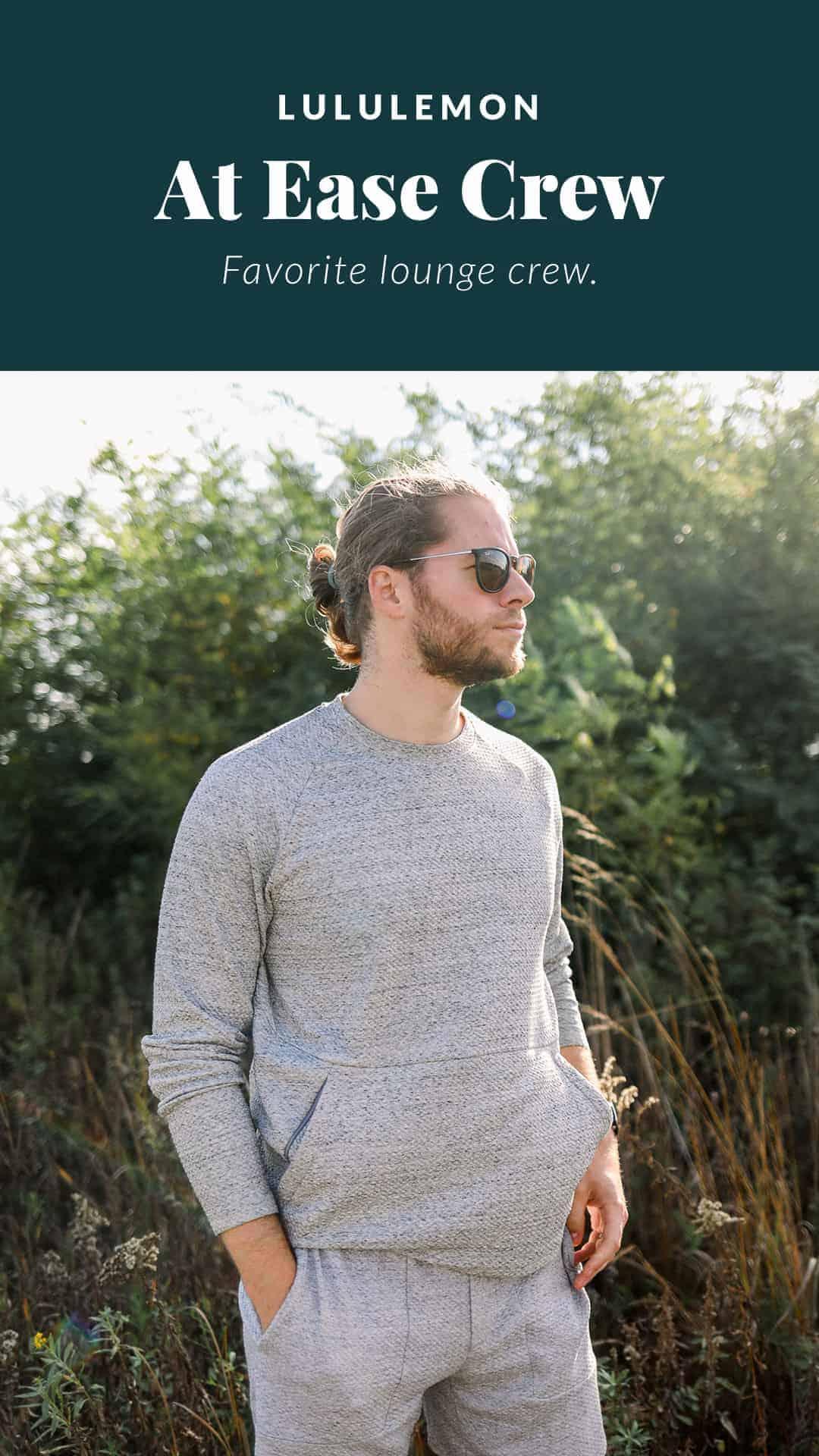 man wearing a lululemon grey sweatshirt