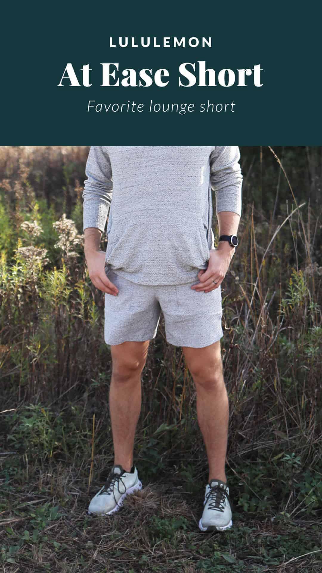 man wearing lululemon shorts