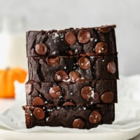 A stack of chocolate pumpkin bread.