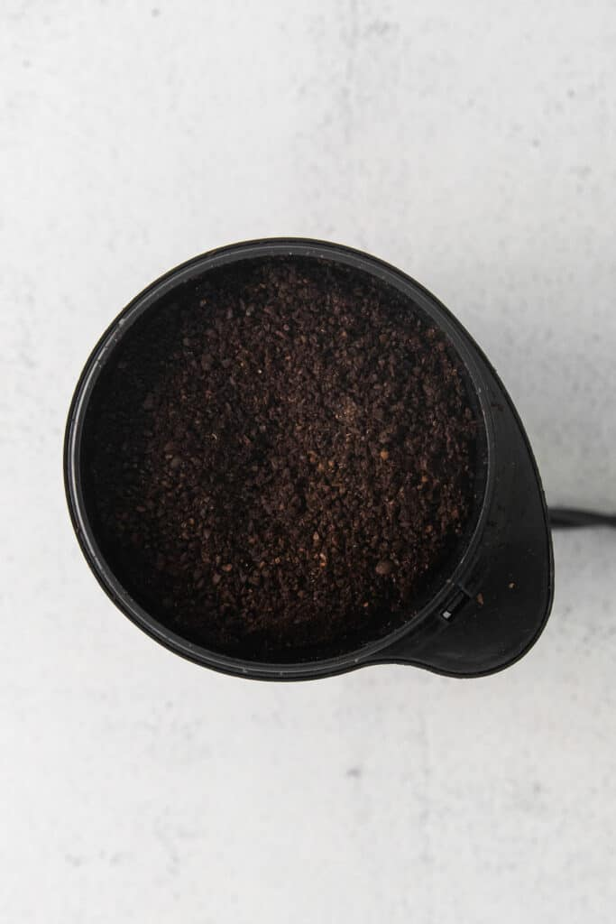 coffee grounds in coffee grinder