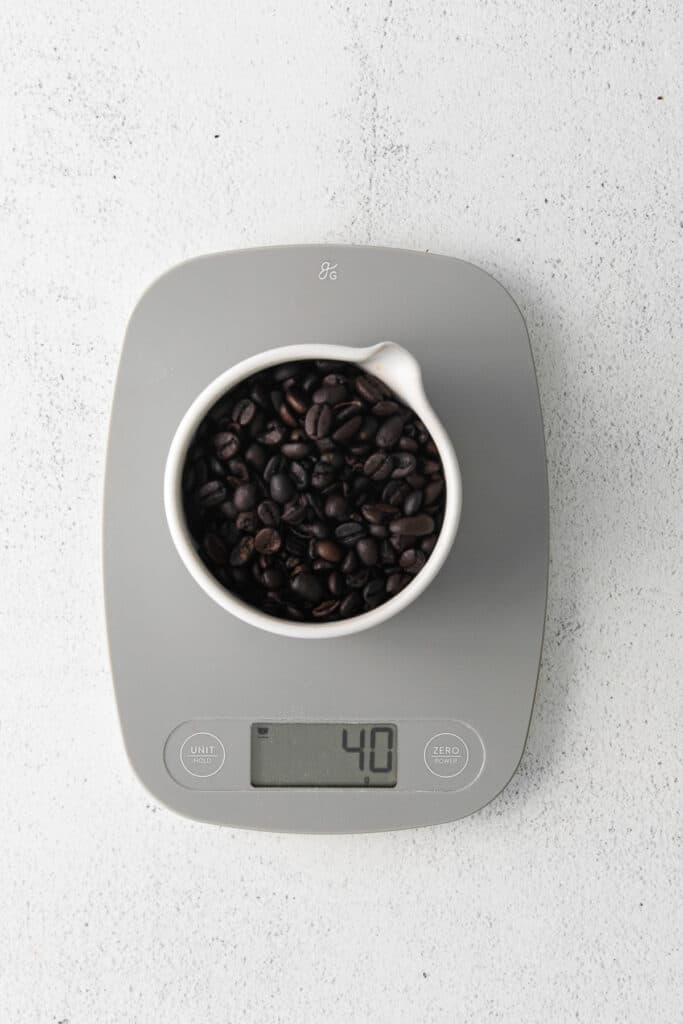 measuring coffee beans