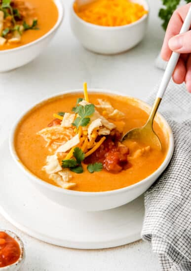 Chili's chicken enchilada soup in a bowl with toppings.