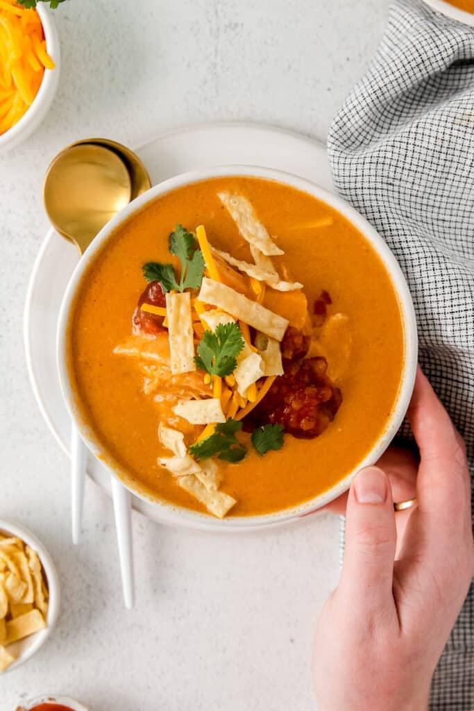 Chicken enchilada soup in a bowl.