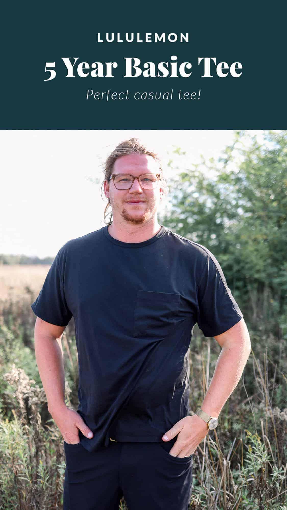 man wearing lululemon t shirt